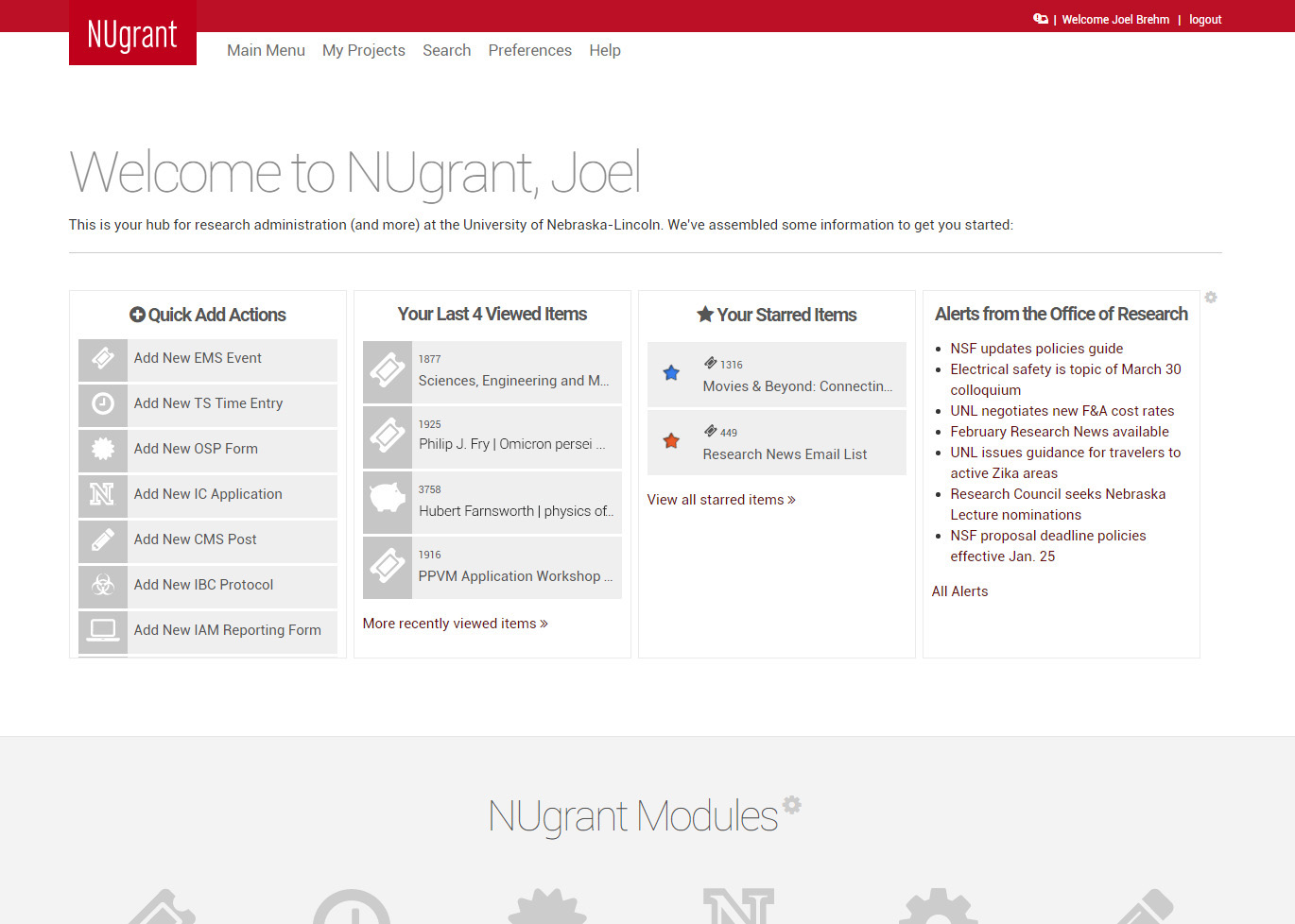 NUgrant research administration system